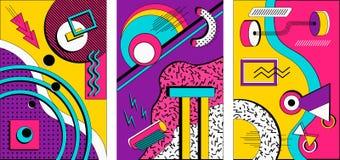 Memphis stylu zabawy projekta broszurki kolekcja obrazy royalty free