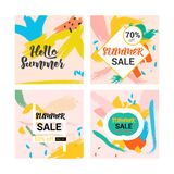 Memphis summer hand drawing and geometry pattern design collection vector illustration