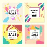 Memphis Summer Square Background. Memphis Style Banner Collection. vector illustration