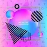 Memphis tło Nowożytny plakat z ciekłym tłem Geometryczny dynamiczny kształta projekt Plakat, ulotka, szablon Obraz Stock