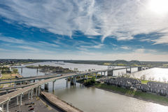MEMPHIS, TENNESSEE - APRIL 09, 2016: Cityscape of Memphis. Mississippi river and Hernando de Soto Bridge Royalty Free Stock Images