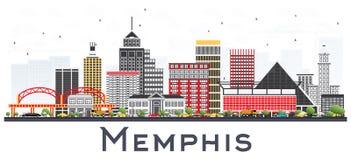 Memphis Tennessee City Skyline avec des bâtiments de couleur d'isolement dessus illustration stock