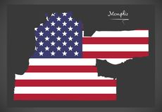 Memphis Tennessee map with American national flag illustration Royalty Free Stock Photo