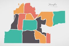 Memphis Tennessee Map med grannskapar och moderna runda former Royaltyfri Foto