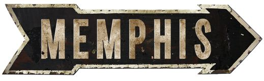 Memphis Tennessee Roadsign. Memphis Tennessee Road Sign Arrow Vintage Rustic Highway Metal Retro Old Antique Elvis Graceland Stock Photo