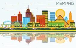 Memphis Tennessee Skyline com construções da cor, o céu azul e a referência ilustração do vetor