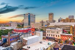Memphis, Tennessee, USA. Downtown city skyline over Beale Street after sunset stock photo