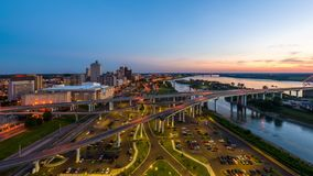 Memphis, Tennessee, USA. Downtown skyline at dusk stock footage
