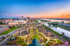 Memphis, Tennessee, USA. Aerial skyline view with downtown and Mud Island Royalty Free Stock Images