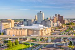 Memphis, Tennessee, USA Skyline. Memphis, Tennessee, USA downtown skyline in the afternoon royalty free stock photos