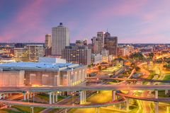 Memphis, Tennessee, USA Skyline. Memphis, Tennessee, USA downtown skyline at twilight stock photography