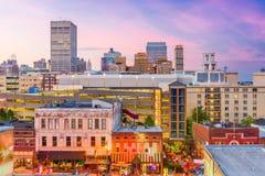 Memphis, Tennessee, USA Skyline. Memphis, Tennessee, USA city skyline over Beale Street at dusk stock photos