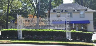 Memphis Theological Seminary Sign Front Memphis, TN. Memphis Theological Seminary and Cumberland Presbyterian Church is  located in Memphis, TN Royalty Free Stock Photo