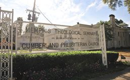 Memphis Theological Seminary Sign Memphis, TN. Memphis Theological Seminary and Cumberland Presbyterian Church is  located in Memphis, TN Royalty Free Stock Images