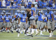 Memphis Tigers players celebrate victory over the NAVY Midshipmen Stock Images