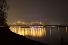 Memphis to Arkansas Connecting Bridges Nightscape Stock Photography