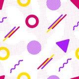 Memphis wektorowy bezszwowy wzór Kolorowi geometryczni kształty w nowożytnym stylu Modnisia tło Modna częstotliwa tekstura Abstra royalty ilustracja