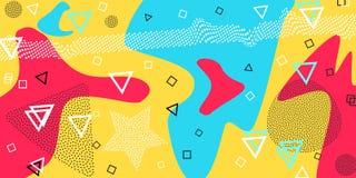 Memphis wzór geometryczni kształty dla tkanki i pocztówek również zwrócić corel ilustracji wektora Modnisia styl Abstrakcjonistyc ilustracja wektor