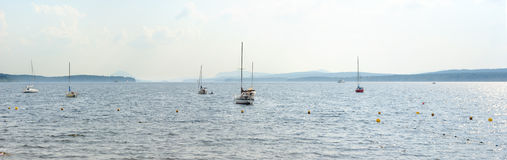Memphremagog lake in summer with boats marina Stock Photography