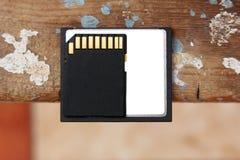 Memória do Sd com cartão flash compacto Fotografia de Stock