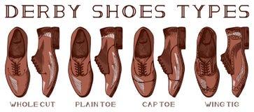 Men's derby shoes. Vector illustration of men's suit derby shoes set: cap toe, plain toe, whole cut, wing tig. Vintage drawing style Royalty Free Stock Photo