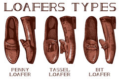 Men's loafer shoes types Royalty Free Stock Photos