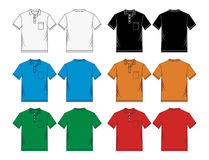 Men's polo-shirt colorful templates. Front and back, vector image stock illustration