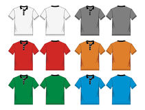 Men's polo-shirt design templates. Front and back, vector image stock illustration