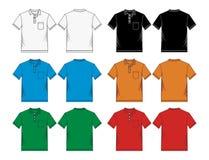 Men's polo-skjorta färgrika mallar stock illustrationer