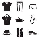 MenÂs Kleidungs-Ikonen Stockbild