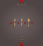 Menú adornado con los cubiertos de oro ilustración del vector