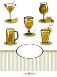 Menú anaranjado fijado iconos de las bebidas Fotografía de archivo libre de regalías