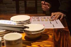 Menú chino del restaurante Fotografía de archivo libre de regalías