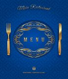 Menú con los cubiertos de oro y la decoración adornada libre illustration