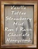 Menú con sabores del helado Imagenes de archivo