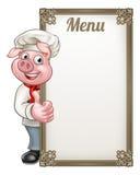 Menú de Cartoon Character Chef del cocinero del cerdo Imagen de archivo