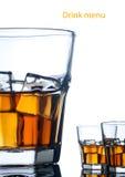 Menú de la bebida del alcohol Fotografía de archivo libre de regalías