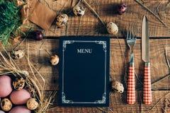 Menú de la cena de Pascua Fotografía de archivo