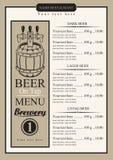 Menú de la cerveza de barril ilustración del vector