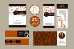 Menú de la cerveza Tarjeta o aviador retra Tema del restaurante Colección de las tarjetas de visita Ilustración del vector libre illustration