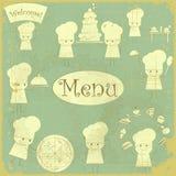 Menú de la cubierta de la vendimia con los cocineros Imágenes de archivo libres de regalías