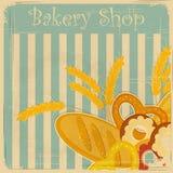 Menú de la cubierta de la vendimia para la panadería Foto de archivo