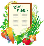 Menú de la dieta Foto de archivo