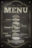 Menú de la hamburguesa Fotografía de archivo