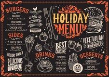 Menú de la Navidad para el restaurante de la hamburguesa, plantilla de la comida stock de ilustración