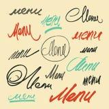 Menú de la palabra de las letras de la mano Sistema del vector de títulos caligráficos del menú Fotos de archivo
