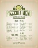 Menú de la pizzería, estilo del vintage Fotos de archivo libres de regalías