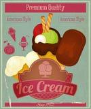 Menú de la tarjeta del vintage del helado Imagen de archivo