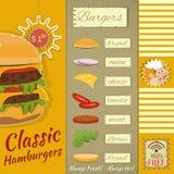 Menú de las hamburguesas Imagen de archivo libre de regalías