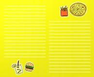 Menú de los alimentos de preparación rápida libre illustration